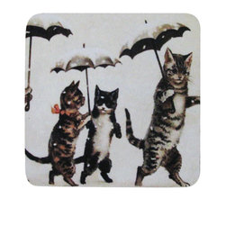 Golden Hill Studio - Cats With Umbrellas Coasters, Set of 4 - This is a wonderful antique print on a super absorbent neoprene coaster.  Made, printed and assembled in the USA!