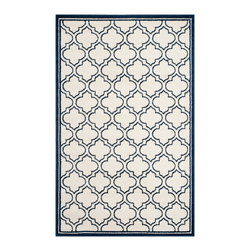 Safavieh - Roberto Indoor/Outdoor Rug, Ivory / Navy 9' X 12' - Construction Method: Power Loomed. Country of Origin: Turkey. Care Instructions: Easy To Clean. Just Rinse With A Garden Hose. Coordinate indoor and outdoor living spaces with fashion-right Amherst all-weather rugs by Safavieh. Power loomed of long-wearing polypropylene, beautiful cut pile Amherst rugs are made to stand up to tough outdoor conditions, but designed with the aesthetics of indoor rugs. Use these family-friendly geometric designs on patios, in kitchens, busy family rooms and other high traffic rooms.