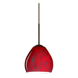 Besa Lighting - Besa Lighting 1BT-4122MA-LED Bolla 1 Light LED Cord-Hung Mini Pendant - The Bolla is a compact handcrafted glass, softly radiused to fit gracefully into contemporary spaces. Our Magma glass is a fiery red cased glass, with inner opal and a glossy finish. The deep red color is accented by flowing marbleized black lines, and nestled between the inner opal and outer clear layers. When lit the glass is vitalizing as well as stylish, that adds appeal to any environment. This blown glass is handcrafted by a skilled artisan, utilizing century-old techniques passed down from generation to generation. Each piece of this decor has its own artistic nature that can be individually appreciated. The cord pendant fixture is equipped with a 10' SVT cordset and a low Profile flat monopoint canopy.Features: