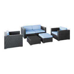 """LexMod - Malibu 5 Piece Outdoor Patio Sofa Set in Espresso Light Blue - Malibu 5 Piece Outdoor Patio Sofa Set in Espresso Light Blue - On the border of the Pacific Ocean lies a place of great peace and quietude. Surrounded by silence, Malibu's soft all-weather light blue fabric cushions and espresso rattan base take you to that place, one relaxing and conducive for interaction with others. Abstract past experiences morph into future discoveries with a warm set that helps expand your horizons. Set Includes: One - Malibu Outdoor Wicker Patio Coffee Table One - Malibu Outdoor Wicker Patio Loveseat One - Malibu Outdoor Wicker Patio Ottoman with Cushion Two - Malibu Outdoor Wicker Patio Armchairs Synthetic Rattan Weave, Powder Coated Aluminum Frame, Water & UV Resistant, Machine Washable Cushion Covers, Easy To Clean Tempered Glass Top, Ships Pre-Assembled Coffee Table Dimensions: 24""""L x 24""""W x 12""""H Ottoman Dimensions: 24""""L x 24""""W x 12""""H Armchair Dimensions: 33""""L x 33""""W x 26""""H Loveseat Dimensions: 33""""L x 63""""W x 26""""H Seat Height : 12""""HBACKrest Height: 25.5""""H Armrest Dimensions: 5""""L x 25.5""""H Cushion Depth: 4""""H Overall Product Dimensions: 57""""L x 129""""W x 26""""H - Mid Century Modern Furniture."""
