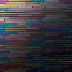 "Gigi's Groovy Glass - Colo-Black Beauty: Iridescent wall Mosaic on a 12""x12"" sheet"