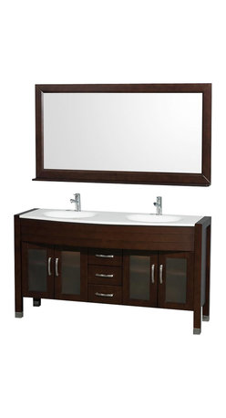 """Wyndham Collection - Wyndham Daytona Double Vanity Set 60"""" Espresso - The Daytona 60"""" Double Bathroom Vanity Set - a modern classic with elegant, contemporary lines. This beautiful centerpiece, made in solid, eco-friendly zero emissions wood, comes complete with mirror. From fully extending drawer glides and soft-close doors to the 3/4"""" glass or marble counter, quality comes first, like all Wyndham Collection products. Doors are made with fully framed glass inserts, and back paneling is standard. Transform your bathroom into a talking point with this Wyndham Collection original design, only available in limited numbers. All counters are pre-drilled for single-hole faucets, but stone counters may need additional holes drilled on-site."""