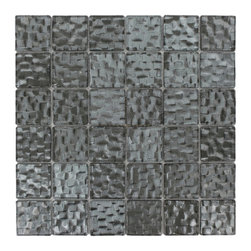GlassTileStore - Terrene Chrysler 2x2 Glass Tile - TERRENE CHRYSLER 2x2 GLASS TILE  This striking glass can make any room atheistically appealing. The wavy finish brings a distinctive design and will add a nice touch for a contemporary and modern room. This tile is great to use for the bathroom, kitchen or pool installation.      Chip Size: 2x2   Material: Glass   Color: Metallic Grey   Finish: Polish   Sold by the Square Foot - each sheet measures 12x12 (1 sq. ft.)   Thickness: 3mm             - Glass Tiles -