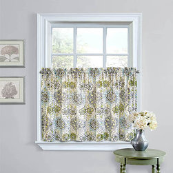 Waverly - Kings Turban Gray Window Tier Pair - - Bring any small window to life with the Waverly King?s Turban tier pair. Offering both style and function, these tiers bring in beautiful filtered light, while still providing the privacy and window coverage you need. Perfect for the kitchen, breakfast room and bathroom!  - 1.5-Inch rod pockets accommodate a 1-Inch rod. Keep tiers closed for maximum privacy or separate slightly for more light and decorative flair! Vibrant and modern medallion pattern livens any decor  - Each tier measures 26-Inch W by 36-Inch L  - 100% Cotton  - Machine wash cold and tumble dry on low. Waverly - 14156052036GRE