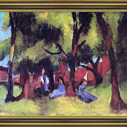 """Art MegaMart - August Macke Children under Trees in Sun - 21"""" x 28"""" Framed Premium Canvas Print - 21"""" x 28"""" August Macke Children under Trees in Sun framed premium canvas print reproduced to meet museum quality standards. Our Museum quality canvas prints are produced using high-precision print technology for a more accurate reproduction printed on high quality canvas with fade-resistant, archival inks. Our progressive business model allows us to offer works of art to you at the best wholesale pricing, significantly less than art gallery prices, affordable to all. This artwork is hand stretched onto wooden stretcher bars, then mounted into our 3 3/4"""" wide gold finish frame with black panel by one of our expert framers. Our framed canvas print comes with hardware, ready to hang on your wall.  We present a comprehensive collection of exceptional canvas art reproductions by August Macke."""