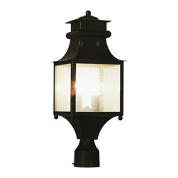 """Trans Globe Lighting - Trans Globe Lighting 45634 WB Garden Chimney 21"""" Post Top Lantern - Craftsman outdoor lighting hangs delicately in place for porch lighting, patios, and outdoor living areas. Japanese inspired outdoor decor."""