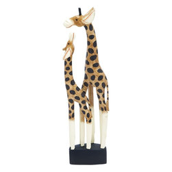 Benzara - Giraffe with Bright Colors and Remodeled Acute Textures - Stylish and elegant, Wood Giraffe with Bright Colors and Remodeled Acute Textures will add elegance to your interiors. It is sure to revitalize your interior settings with a dash of modernity that will bring a distinct chirpiness to your room with this wooden giraffe show piece. This beautiful piece of high quality wood is carved with the finest details to depict the lovely relationship between a mother and her child. The structure is painted with bright colors and remodeled with acute textures that make it look authentic when placed. The fine details with precise crafting and coloring adds life to this piece of decor and makes it more appealing. You can add it to your living room table or place it in your study desk for a contemporary look. Carved from a single piece, it is very touch and flaunts a smooth texture.
