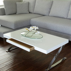 Pangea Home - Mason Coffee Table - Rectangular coffee table with one pull out drawer and X-shaped metal legs. Features: -Wood veneer and high gloss lacquer.-High polished metal legs.-Mason collection.-Collection: Mason.-Distressed: No.-Style: Modern.-Base Finish: High polished metal.-Powder Coated Finish: No.-Wrought Iron: No.-Top Material: Manufactured Wood.-Base Material: High polished metal.-Base Type: Legs.-Solid Wood Construction: No.-Reclaimed Wood: No.-Design: Table.-Drop Leaf: No.-Shape: Rectangle.-Lift Top: No.-Tray Top: No.-Storage Under Tabletop: No.-Folding: No.-Magazine Rack: No.-Built In Clock: No.-Powered: No.-Nested Stools Included: No.-Legs Included: Yes -Number of Legs: 2.-Leg Type: X / Cross Legs..-Casters: No.-Exterior Shelves: No.-Cabinets Included: No.-Drawers Included: Yes -Number of Drawers: 1.-Drawer Glide Material: Metal.-Soft Close Drawer Glides: Yes.-Safety Stop : Yes..-Corner Block: No.-Cable Management: No.-Adjustable Height: No.-Glass Component: No.-Upholstered: No.-Outdoor Use: No.-Swatch Available: No.-Commercial Use: Yes.-Recycled Content: No.-Eco-Friendly: No.-Product Care: Wipe with damp cloth.-Gloss Finish (Finish: Espresso): No.-Gloss Finish (Finish: Walnut): No.-Gloss Finish (Finish: White): Yes.Dimensions: -Overall Product Weight: 68.-Overall Height - Top to Bottom: 15.-Overall Width - Side to Side: 48.-Overall Depth - Front to Back: 24.-Width When Fully Extended: No.-Table Top Width - Side to Side: 48.-Table Top Depth - Front to Back: 24.-Drawers: Yes.-Legs: Yes.Assembly: -Assembly Required: Yes.-Additional Parts Required: No.