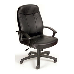 """BOSS Chair - High Back Leather Office Chair In Black w Lum - Comfort and function blend in this sleek and stylish, high back LeatherPlus chair. Its well-defined, contoured back offers optimum lumbar support. Equipped with convenient arm rests, adjustable height, tilt features and casters, this swivel chair upholstered in black LeatherPlus ends your search for the perfect office chair. Beautifully upholstered In black LeatherPlus. Softness and durability. Passive ergonomic seating with built in lumbar support. Upright locking positions. Pneumatic gas lift seat height adjustment. Adjustable tilt tension control. Large 27"""" nylon base for greater stability. Hooded double wheel casters. Cushion color: Black. Base/wood: Black. Seat size: 20 in. W x 20 in. D. Seat height: 18 in. -22 in. H. Arm height: 24.5 in. -28 in. H. Overall dimension: 27 in. W x 27 in. D x 42-46 in. H. Weight capacity: 250 lbs"""