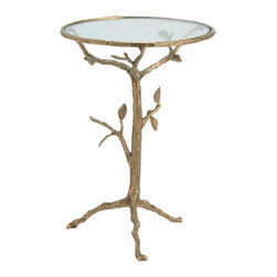 Kathy Kuo Home - Sherwood Sculpted Tree Branch Antique Brass Side Table- S - Drawing upon surrealism, art nouveau and French country influences, this brass and glass accent table creates the effect of a golden shrub growing from the ground.  A glass surface makes this tree a table, making it a fairy tale come true.