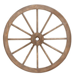 "Benzara - Metal Wagon Wheel with Long Lasting Construction - This giant wood metal wagon wheel is a perfect addition to your large living area. Lend a touch of Old-world period magnificence to settings with this wheel and revamp interiors for an attractive visual appeal. Offering an additional grandiose to the ambience, this attractive wagon wheel is designed from high quality wood and sturdy metal to offer robust, long lasting and durable artifact. Place it in your living room or near your fireplace for a majestic look. You can even rest it on a wall backdrop in your garden to give an earthy vintage look to your garden decor. Wherever place, this giant wagon wheel is sure to attract eyeballs and noticed admiring attention.; Robust construction; Made of high quality wood & metal; Offers a period appeal; Weight: 4.63 lbs; Dimensions:30""Dia x 2""D x 30""H"