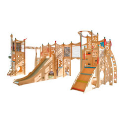 CedarWorks - Rhapsody Playset 9 - CedarWorks Rhapsody 9 indoor playground has enough climbing, swinging, sliding, and hiding features to tame even the wildest imagination. With many playful features including, telescopes, rope and bucket, fire pole, monkey bars, chalkboards, nooks, ladders, swing, slide, steering wheel, climbing wall and bridge, Rhapsody 9 indoor playset is sure to keep your little one busy for hours.  Assembly is required. Accessories are not included.