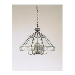 Forte Lighting - Forte Lighting 3054-07 7 Light Covered Chandelier from the Bound and Decorative - Pendant light in an antique pewter finish with beveled glass sides.  This light comes with a 3' chain and a 10' wire.  The pendant holds 6 candle bulbs as well as a R20 50 watt bulb.
