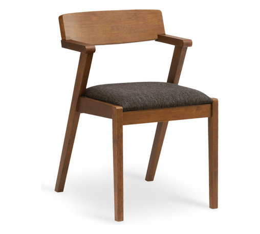 Bryght - 2 x Zola Liquorice Fabric Upholstered Cocoa Dining Chair - A trendy mid century modern design, the Zola dining chair beautifully fuses high style and good construction. Sleek, angular and curvy, the Zola chair is a trendy addition to any household.