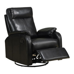 Monarch Specialties - Monarch Specialties 8081BK Swivel Rocker Recliner in Black Leather - This contemporary design accent chair combines 3 functional elements. . . . . It swivels. . . . . . It rocks. . . . . And it reclines, ensuring that you are always in a comfortable position. This black bonded leather chair with a padded head and arm rest was designed for ultimate comfort. Whether reading a book or watching sports this will be the chair that everyone will want to sit on. The easy glide motion and the contemporary design makes it a chic and fashionable addition for your den, bedroom, living room or basement. It truly is a chair for any room in your home.