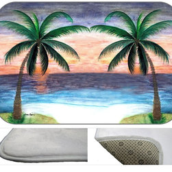 Twin Palms Plush Bath Mat, 20X15 - Bath mats from my original art and designs. Super soft plush fabric with a non skid backing. Eco friendly water base dyes that will not fade or alter the texture of the fabric. Washable 100 % polyester and mold resistant. Great for the bath room or anywhere in the home. At 1/2 inch thick our mats are softer and more plush than the typical comfort mats.Your toes will love you.