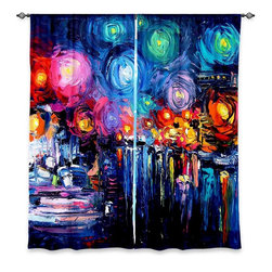 """DiaNoche Designs - Window Curtains Unlined - Aja-Ann Midnight Harbor xix - Purchasing window curtains just got easier and better! Create a designer look to any of your living spaces with our decorative and unique """"Unlined Window Curtains."""" Perfect for the living room, dining room or bedroom, these artistic curtains are an easy and inexpensive way to add color and style when decorating your home.  This is a tight woven poly material that filters outside light and creates a privacy barrier.  Each package includes two easy-to-hang, 3 inch diameter pole-pocket curtain panels.  The width listed is the total measurement of the two panels.  Curtain rod sold separately. Easy care, machine wash cold, tumbles dry low, iron low if needed.  Made in USA and Imported."""