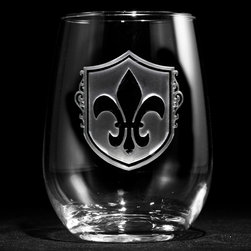 Crystal Imagery - Fleur De Lis Engraved Stemless Wine Glasses Set of 4 - Fleur de Lis stemless wine glasses, engraved by Crystal Imagery with the popular Fleur-de-lis are a unique gift for the person who loves french decor. Our Fleur de lis engraved stemless wine glass features an old world shield background carved out from the glass by our master glass sand carvers to leave the fleur de lis beautifully raised from the wine glass surface in a stunning 3 dimensional manner. A great anniversary or birthday gift idea or wedding gift idea for someone with French heritage or who loves French decor. Our French bar glasses and French barware are a gift that will make jaws drop and will be used and appreciated for many years to come.