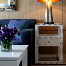 Marco Nailhead Side Table in White - Accent and End Tables - Accent Furniture -