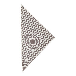 """Pine Cone Hill - PCH Riviera Charcoal Napkins Set of 4 - Fun and graphic, the charcoal gray and white PCH Riviera cloth napkins deliver a punchy accent. A bold star bursts through its classic chevron pattern for a spirited addition to the modern table. 22""""W x 22""""H; Set of 4; 50% cotton/50% linen; Designed by Pine Cone Hill, an Annie Selke company; Machine wash cold, tumble dry low; Do not bleach"""