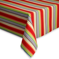 Bardwil Linens - Mystic Stripe Indoor/Outdoor Tablecloth - This bright, striped tablecloth will be a fun addition to any table. It's spill- and stain-resistant so it works great indoors or outdoors.