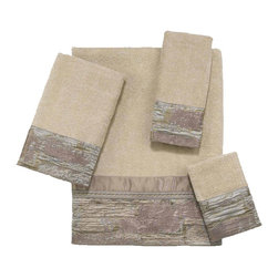 Avanti Linens - Phillipa 4 Piece Cotton Towel Set by Avanti Linens - Bath towels feature a textured iridescent fabric that is accented with a coordinating cord and solid fabric along the top. The neutral tones of these bath towels will be a welcome addition to any bathroom decor. The color of the towel set is tan.