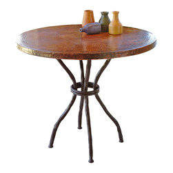 "Woodland Bistro Table - Perfect for your cabin bar or dining room  the Woodland Bistro Table is a beautiful rustic blend of style and craftsmanship. Crafted from high-quality recycled copper and hand-forged iron  this unique table has a hand-hammered and fired tabletop made using a hand-applied  Old World technique for variations on each piece. A wax coating adds protection. The artisan-made iron base is crafted with the look of curved branches in a black finish. Measures 36""W x 36""D x 31 1/2""H. ~ Ships from the manufacturer. Allow 4 to 6 weeks."