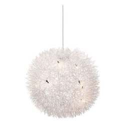 Hanging Dandelion Lamp - Create subtly dramatic lighting with the explosion of rays shining from this Hanging Dandelion Lamp. Made from an aluminum and chrome, it can hang in any room in the house for a unique display of light.