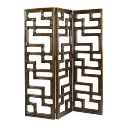 Lexington - Lexington Henry Link Trading Co. Kilimanjaro Screen 4011-1099 - A three-panel hinged screen in a contemporary pattern of leather-wrapped rattan.