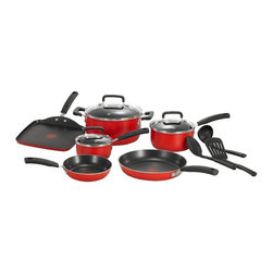 T-fal - T-fal C112SC75 Signature Total Nonstick Aluminum 12 Piece Cookware Set - Red Mul - Shop for Cookware Sets from Hayneedle.com! The T-fal C112SC75 Signature Total Non-Stick 12-Piece Cookware Set - Red features the unique Thermo-Spot heat indicator that shows when your pan is perfectly preheated to seal in the flavor of your food. The expert non-stick interior is exceptionally durable and scratch resistant and is safe for use with metal utensils. The even heat base delivers even heat distribution for reliable cooking results. Dishwasher safe the non-stick exterior provides fast and easy cleanup.