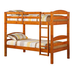 Walker Edison - Walker Edison Twin/Twin Solid Wood Bunk Bed - Honey X-YHTOTSWB - Beloved for it's compact foot print, this bunk bed is the perfect addition for any bedroom. Crafted from solid pine wood, this traditional bunk bed is functional, sturdy and exceptionally stylish. Features full length guardrails and an integrated ladder. A great solution for any space-saving needs, this bunk bed also easily converts into two individual beds for versatility.Features:&#8226: Stylish, traditional design&#8226: Solid hardwood construction&#8226: Rich, attractive finish&#8226: Easily and safely separates into two beds&#8226: Supports slats included, no box spring needed&#8226: Conforms to the latest consumer product safety standards&#8226: Ideal for space-saving needs&#8226: Maximum recommended upper mattress thickness of 9 in.&#8226: Each bunk supports 250 lbs.&#8226: Does NOT include mattresses or bedding&#8226: Ships ready-to-assemble with necessary hardware and tools&#8226: Assembly instructions included with toll-free number and online support