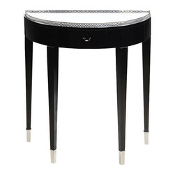 sofaweb - Ebony Finish 1-drawer Hall Table with Mirrored Top - This hall table has timeless elegance with a mirrored top,polished nickel trim and leg caps,and an ebony finish that accentuates all of your home decor.