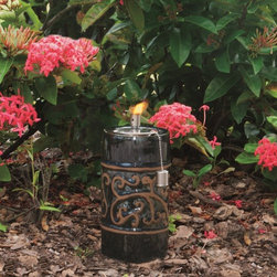 """Smart Solar - Etruscan Ceramic Garden Torch - 9"""" H - Hand crafted 9""""H ceramic garden torch and stylized accent in relief. Outdoor accent piece to line walkways or use as centerpiece. Finished with a Chestnut Orange glaze.. Aluminum cylinder includes wick. Burns for approximately 1 hour per 1 ounce of lamp oil (not included). Can be used with citronella lamp oil to keep mosquitoes away. One year limited warranty. 4.5 in. Diameter x 9 in. HThe Estruscan ceramic garden torch is an outdoor accent piece perfect for lining walkways or using as a centerpiece on a table. Create warmth and ambiance with this hand crafted garden torch with a unique Blue Midnight glazed finish. It burns for approximately one hour per one ounce of lamp oil used. Cylinder includes wick."""