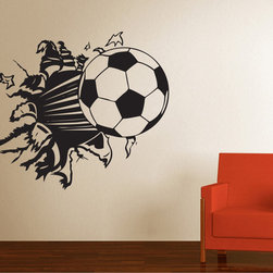 StickONmania - Soccer Ball Smashed Wall Sticker - Soccer ball smashed through wall Decorate your home with original vinyl decals made to order in our shop located in the USA. We only use the best equipment and materials to guarantee the everlasting quality of each vinyl sticker. Our original wall art design stickers are easy to apply on most flat surfaces, including slightly textured walls, windows, mirrors, or any smooth surface. Some wall decals may come in multiple pieces due to the size of the design, different sizes of most of our vinyl stickers are available, please message us for a quote. Interior wall decor stickers come with a MATTE finish that is easier to remove from painted surfaces but Exterior stickers for cars,  bathrooms and refrigerators come with a stickier GLOSSY finish that can also be used for exterior purposes. We DO NOT recommend using glossy finish stickers on walls. All of our Vinyl wall decals are removable but not re-positionable, simply peel and stick, no glue or chemicals needed. Our decals always come with instructions and if you order from Houzz we will always add a small thank you gift.