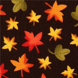 dark brown autumn leaf fabric by Timeless Treasures - flower fabric from the USA with many small autumn leaves