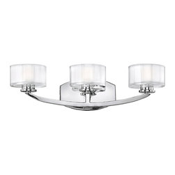 Hinkley - Meridian 3-Light Bathroom Vanity Chrome - The Meridian Collection features Chrome Finish and Faceted Clear Inside Etched Glass