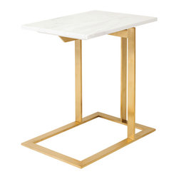 Gold Stainless Steel & White Marble Top Side Table - Gold stainless steel and white marble top side table.