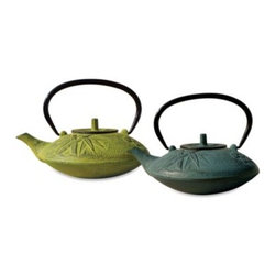 """Tetsubin - Tetsubin """"Sakura"""" 37-Ounce Cast Iron Tea Pots with Infuser - These elegant and distinctively-shaped cast iron tea pots are inspired by highly-prized antique Japanese cast iron tea pots still in use today."""