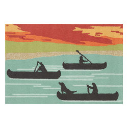 """Trans-Ocean Inc - Canoe Sunset 20"""" x 30"""" Indoor/Outdoor Rug - Richly blended colors add vitality and sophistication to playful novelty designs. Lightweight loosely tufted Indoor Outdoor rugs made of synthetic materials in China and UV stabilized to resist fading. These whimsical rugs are sure to liven up any indoor or outdoor space, and their easy care and durability make them ideal for kitchens, bathrooms, and porches; Primary color: Blue;"""