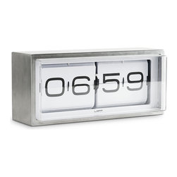 Leff Group - Leff Group - Brick Wall/Desk Clock White Face - The ultimate and heavy duty piece in the Leff collection. A vintage flip clock, reinvented and redesigned, with a unique combination of materials and graphics. Inside the stainless steel case a precision machine gives you a different composition of numbers every minute (also known as the time). This clock can be put on a desk or hung to the wall. AM/PM designators. This clock is covered by Leff Group's 5-Year warranty.