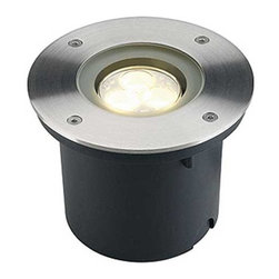 SLV Lighting - Wetsy Round LED Recessed Ground Fixture - Wetsy Round LED exterior recessed ground fixture features a stainless steel finish. Available with white or warm white LED lamps. Includes mounting pot and LED driver. Mounting pot measure 4.9W x 3.9H. Includes three 1 watt, 120 volt PowerLED lamps. General light distribution. Dimensions: 5.2 inch diameter.