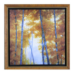 Davis Art - Davis Art Blue Wood Canopy Wall Art - The bright, deep blue that decorates the tree trunks of this wall decor piece stands out against the soft golden yellow of the leaves to charm and soothe your room. Peaceful color, bright rustic style, cheerful ambiance - these aspects enhance the rugged, enchanting appeal of this wall art print to add a statement piece to your living space, heightening its elegant and simple outdoor style.Canvas transfer printBrown burl floater frame with gold accents includedReady to hang; mounting hardware includedMatches the Vermillion Wood wall art printMade in the USA