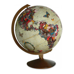 "Imagine Nations - ""Flutter By"" Globe - Featuring a stunning arrangement of butterflies shaping the world's continents and migrating in between them, this globe is guaranteed to make your heart flutter with delight."