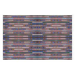 Domestic Construction - Line Up Floor Mat, Large - The colors in this floor mat are reminiscent of the weavings found in the American Southwest. It's actually a digital reproduction of a paper design, but your neighbors will never know! The rubber backing will hold it in place and the material can be machine washed, making daily use a no-brainer.