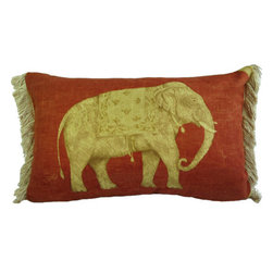 """Interior Nature - Red Accent Pillow, Fringe Elephant Pillow - A sophisticated red accent for the Holidays! Of all the Indienne style fabrics woven through the centuries, this one captures the rustic character of that beautifully aged provincial wall that you wish could be in your own home. The florals painted onto the vintage Greeff fabric stand out for their originality of scale and shape. A very detailed screen printed elephant adds character and signals that this Holiday Party has begun and the bar is open! 1st Side: U.K.'s Greeff vintage screen print Calicut fabric (before Schumacher bought the company). 66% linen, 34% cotton.  2nd Side: Kravet by Andrew Martin screen print Jahangir fabric, made in England. 100% cotton. Both fabrics printed in a matching rustic brick red. 100% silk fringe from 1980's Paris. White down/feather (non-stabbing) insert.  13"""" x 21""""."""