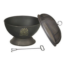 "Kay Home Products - Acanthus Outdoor Fire Bowl - Perfect for a romantic evening at home, this compact outdoor fireplace boasts an elegant design. Made from durable steel and finished in black high-temperature paint, the Acanthus is sure to become the focal point of your yard. It measures 19 3/4"" across. Just right for smaller settings and intimate get-togethers.Features:"
