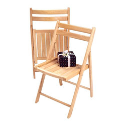 Winsome Wood - Wooden Folding Chairs - Set of 4 - The Folding Chair in Wood features sturdy yet lightweight solid wood construction for lasting beauty, strength and durability. This contoured back, slatted wood chair is ideal for outdoor use and quickly folds flat for space-saving storage or convenient transport. * Includes (4) chairs. Solid wood construction. Folds for easy storage. 32 in. H x 17.5 in. W x 20 in. D