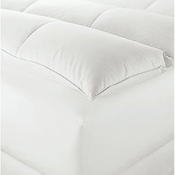 Down-Alternative Featherbed, Twin - Sink-in soft and superwarm, a featherbed invites cozy nights and relaxing, sleep-in weekends. Perfectly hypoallergenic, ours has a plush microfiber top and high-loft fiber fill below. Casing is pure cotton. Constructed with a Euro-box baffled chamber design to keep the fill in place. Comfort chambers are filled with Lyocell natural down alternative on top; and high loft polyester fiber below. Spot clean or dry-clean. Catalog / Internet Only. Made in America of imported materials.