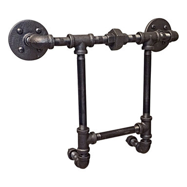 Industrial Home Bazaar - Industrial Pipe Magazine Holder - A decorative way to display and store magazines, can be mounted on any area that is easily accessible. With its compact feature, it saves a lot of storage space making it a good solution to small sized bathrooms.
