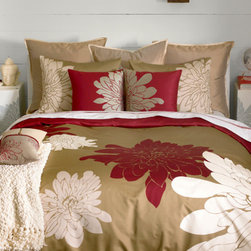 Ashley Grey Duvet Set - Our Ashley Grey duvet borrows the contemporary concept of flat art to produce a masterpiece for your master bedroom. The bed becomes a canvas of pure cotton sateen, emblazoned with magnificent chrysanthemums, cropped and scaled for drama. The warm grey ground arranges lacquer red and white blooms on top, reversing to lacquer red cotton sateen. Also available in citron green colorway.